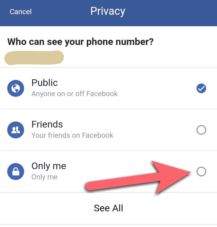 Facebook number hide