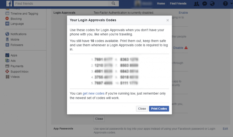Facebook Recovery Codes