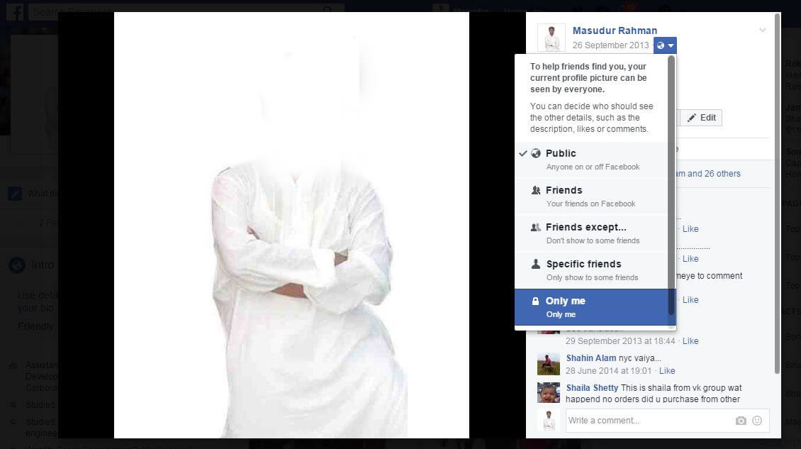 hide facebook profile picture from public