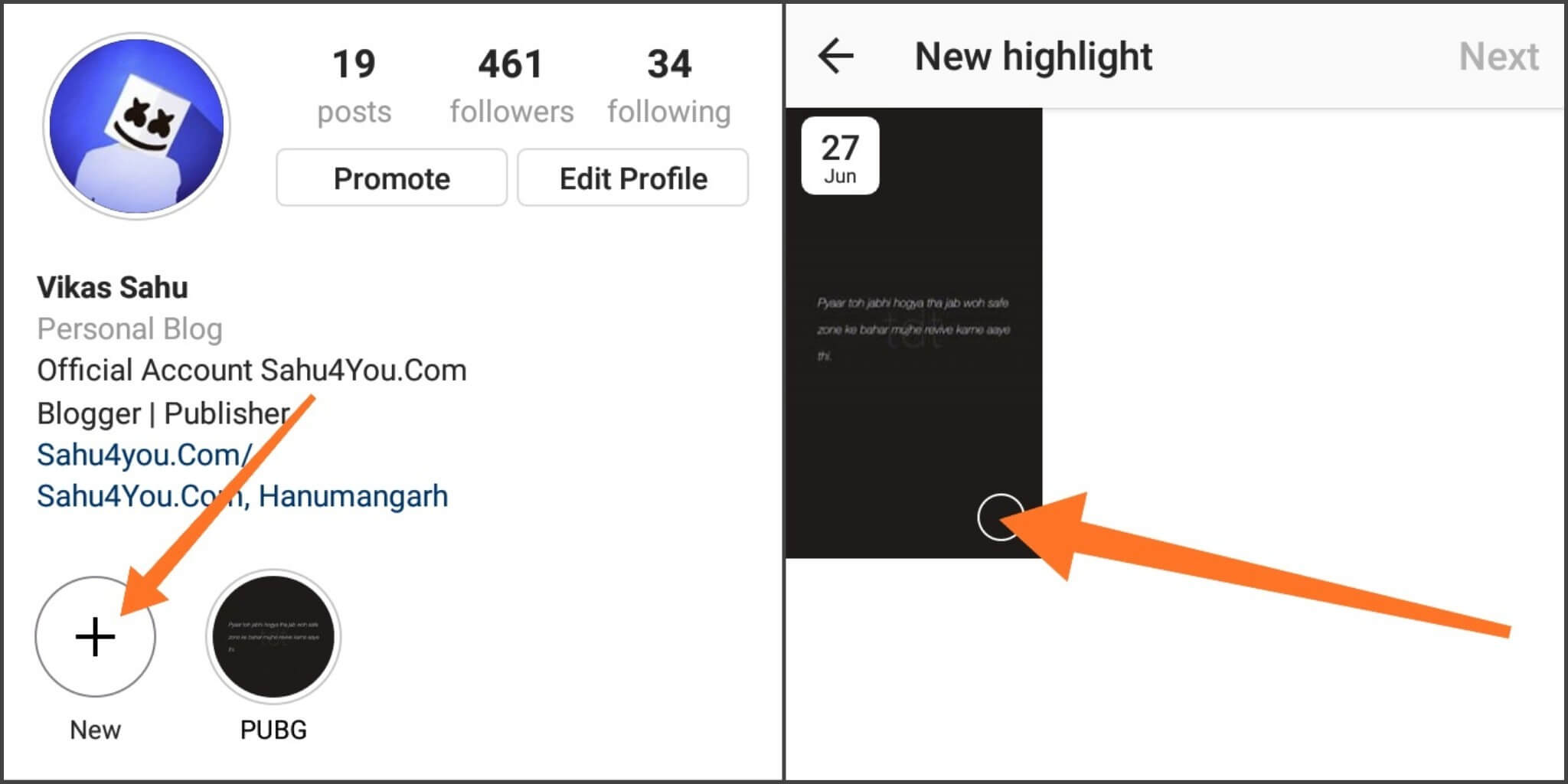 Instagram Stories Highlight Feature