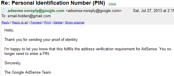 Adsense Pin Verified
