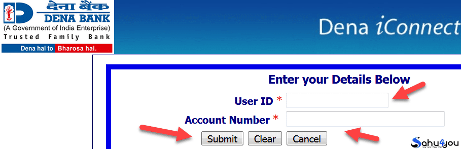 dena bank user id account number