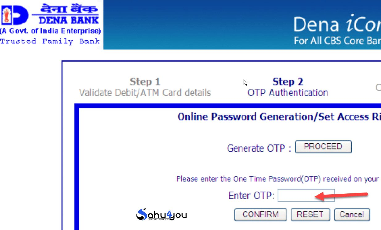 dena bank otp password