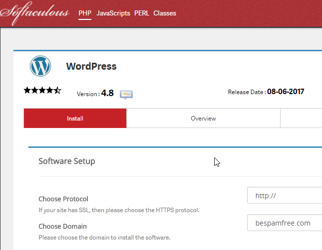 Install WordPress through Softaculous