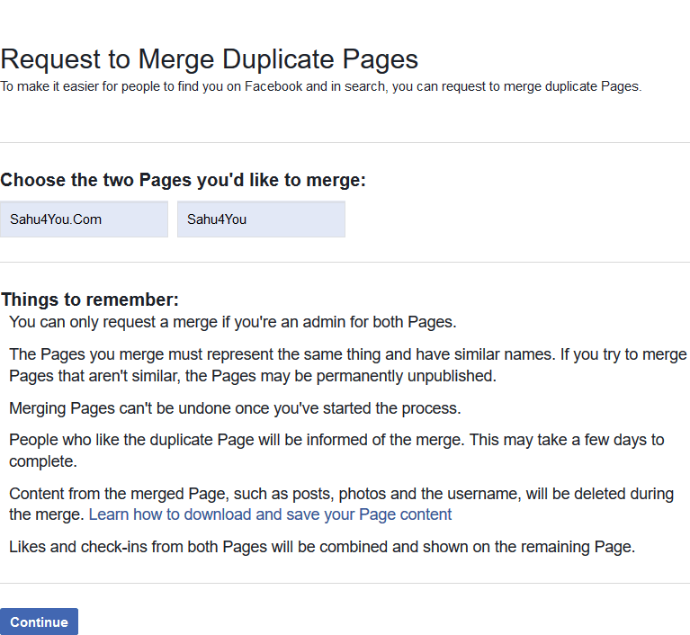 Request to Merge Duplicate Pages