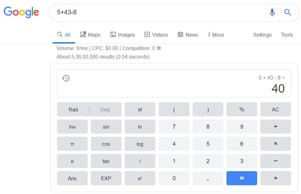 Google Calculator Tool