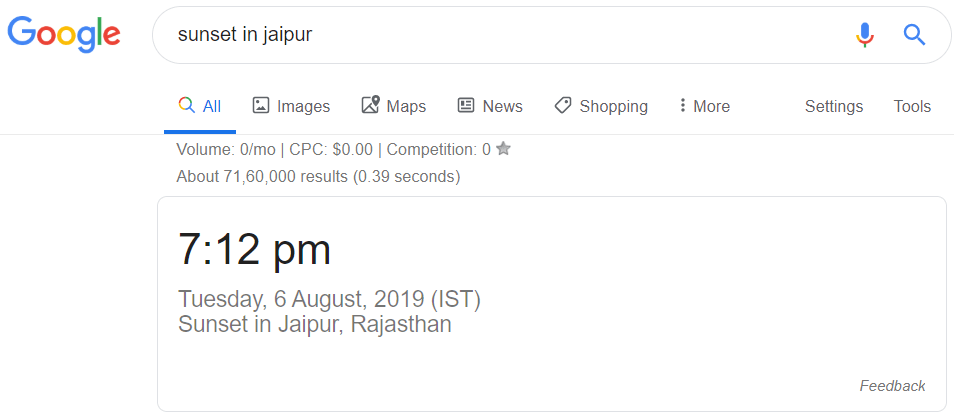 Sunset in Jaipur Google Tricks